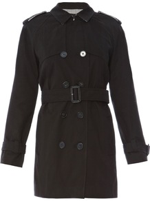 Women&#x27;s Zip Detail Trench Coat, Black - pattern: plain; shoulder detail: obvious epaulette; style: trench coat; length: mid thigh; predominant colour: black; occasions: casual, work; fit: tailored/fitted; fibres: cotton - 100%; collar: shirt collar/peter pan/zip with opening; waist detail: belted waist/tie at waist/drawstring; back detail: back vent/flap at back; sleeve length: long sleeve; sleeve style: standard; texture group: cotton feel fabrics; collar break: high/illusion of break when open; pattern type: fabric