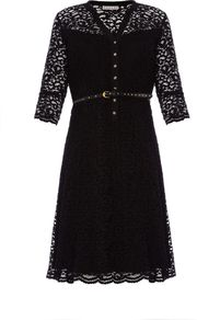 Women&#x27;s Arabesque Lace Dress, Black - style: shift; neckline: v-neck; waist detail: belted waist/tie at waist/drawstring; bust detail: buttons at bust (in middle at breastbone)/zip detail at bust; predominant colour: black; occasions: casual, evening, work, occasion; length: just above the knee; fit: soft a-line; fibres: polyester/polyamide - mix; sleeve length: 3/4 length; sleeve style: standard; texture group: lace; pattern type: fabric; pattern size: standard; pattern: patterned/print; embellishment: embroidered