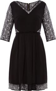 Women&#x27;s Ottoman Lace Sleeved Dress, Black - neckline: v-neck; waist detail: fitted waist; predominant colour: black; occasions: evening, occasion; length: just above the knee; fit: fitted at waist &amp; bust; style: fit &amp; flare; fibres: acrylic - mix; hip detail: soft pleats at hip/draping at hip/flared at hip; sleeve length: half sleeve; sleeve style: standard; texture group: lace; pattern type: fabric; pattern size: standard; pattern: patterned/print; embellishment: embroidered