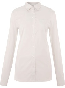 Women&#x27;s Women`S Perfect Stretch Shirt, Pink - neckline: shirt collar/peter pan/zip with opening; pattern: plain; style: shirt; predominant colour: blush; occasions: casual, work; length: standard; fibres: cotton - stretch; fit: tailored/fitted; sleeve length: long sleeve; sleeve style: standard; texture group: cotton feel fabrics; pattern type: fabric