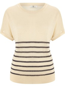 Women's Day Streaks Top, Cream - pattern: horizontal stripes; style: t-shirt; predominant colour: nude; secondary colour: black; occasions: casual, work; length: standard; fibres: linen - mix; fit: body skimming; neckline: crew; sleeve length: short sleeve; sleeve style: standard; texture group: linen; pattern type: fabric; pattern size: small & light