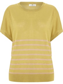 Women&#x27;s Day Streaks Top, Yellow - pattern: horizontal stripes; secondary colour: white; predominant colour: mustard; occasions: casual, work; length: standard; style: top; fibres: linen - mix; fit: loose; neckline: crew; sleeve length: short sleeve; sleeve style: standard; texture group: linen; pattern type: fabric; pattern size: small &amp; light