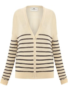 Women's Day Streaks Cardigan, Cream - neckline: low v-neck; pattern: horizontal stripes; predominant colour: ivory; occasions: casual, work; length: standard; style: standard; fibres: linen - mix; fit: loose; sleeve length: long sleeve; sleeve style: standard; pattern type: fabric; pattern size: small & light; texture group: jersey - stretchy/drapey