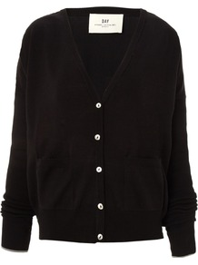 Women's Day Sooth Cardigan, Black - neckline: low v-neck; back detail: contrast pattern/fabric at back; bust detail: buttons at bust (in middle at breastbone)/zip detail at bust; predominant colour: black; occasions: casual, work; length: standard; style: standard; fibres: cotton - mix; fit: loose; waist detail: front pockets at waist level; sleeve length: long sleeve; sleeve style: standard; texture group: knits/crochet; pattern type: knitted - fine stitch