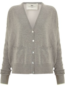 Women&#x27;s Day Sooth Cardigan, Grey - neckline: low v-neck; back detail: contrast pattern/fabric at back; bust detail: buttons at bust (in middle at breastbone)/zip detail at bust; predominant colour: light grey; occasions: casual, work; length: standard; style: standard; fibres: silk - mix; fit: loose; waist detail: front pockets at waist level; sleeve length: long sleeve; sleeve style: standard; texture group: knits/crochet; pattern type: knitted - fine stitch