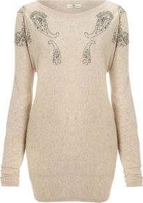 Women&#x27;s Day Blythe Pullover, Cream - neckline: round neck; bust detail: added detail/embellishment at bust; length: below the bottom; pattern: paisley; style: standard; hip detail: fitted at hip; back detail: contrast pattern/fabric at back; predominant colour: ivory; occasions: casual, work; fit: loose; shoulder detail: added shoulder detail; sleeve length: long sleeve; sleeve style: standard; texture group: knits/crochet; pattern type: knitted - fine stitch; pattern size: small &amp; light; embellishment: applique; fibres: viscose/rayon - mix