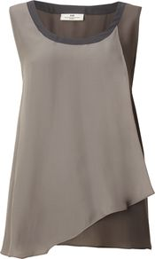 Women's Day Trinity Top, Grey - neckline: round neck; sleeve style: sleeveless; style: vest top; waist detail: twist front waist detail/nipped in at waist on one side/soft pleats/draping/ruching/gathering waist detail; shoulder detail: contrast pattern/fabric at shoulder; bust detail: ruching/gathering/draping/layers/pintuck pleats at bust; predominant colour: mid grey; occasions: casual, evening, work, holiday; length: standard; fibres: silk - 100%; fit: body skimming; back detail: longer hem at back than at front; sleeve length: sleeveless; texture group: silky - light; pattern type: fabric; pattern size: standard; pattern: colourblock