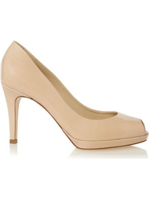 Leila Peep Toe Court, Nude - predominant colour: nude; occasions: evening, work, occasion, holiday; material: leather; heel height: high; heel: platform; toe: open toe/peeptoe; style: courts; finish: patent; pattern: plain