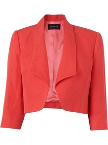 Women's Edge To Edge Silk Linen Jacket, Pink - pattern: plain; style: cropped; collar: shawl/waterfall; length: cropped; fit: slim fit; predominant colour: bright orange; occasions: casual, work, occasion; fibres: linen - 100%; sleeve length: 3/4 length; sleeve style: standard; texture group: sheer fabrics/chiffon/organza etc.; collar break: low/open; pattern type: fabric