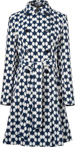 Women's Blurred Spot Printed Mac, Navy - style: mac; length: on the knee; predominant colour: navy; occasions: casual, evening, work; fit: tailored/fitted; fibres: cotton - mix; collar: shirt collar/peter pan/zip with opening; waist detail: belted waist/tie at waist/drawstring; back detail: back vent/flap at back; sleeve length: long sleeve; sleeve style: standard; texture group: cotton feel fabrics; collar break: high; pattern type: fabric; pattern size: big & busy; pattern: patterned/print