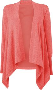 Women's Silk Back Waterfall Cardigan, Light Pink - pattern: plain; neckline: waterfall neck; style: open front; predominant colour: pink; occasions: casual; length: standard; fibres: wool - 100%; fit: loose; sleeve length: long sleeve; sleeve style: standard; texture group: knits/crochet; pattern type: knitted - fine stitch; pattern size: standard