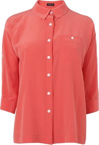 Women's Roll Sleeve Washed Silk Blouse, Light Pink - neckline: shirt collar/peter pan/zip with opening; pattern: plain; style: shirt; predominant colour: coral; occasions: casual, work; length: standard; fibres: silk - 100%; fit: straight cut; sleeve length: 3/4 length; sleeve style: standard; texture group: lace; pattern type: fabric; pattern size: standard