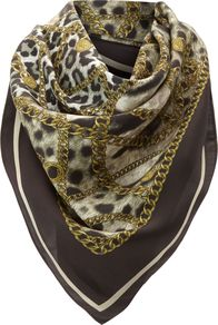 Silk Animal Print Scarf, Leopard Print - predominant colour: chocolate brown; occasions: casual, evening, work; type of pattern: heavy; style: square; size: standard; material: silk; pattern: animal print; trends: statement prints