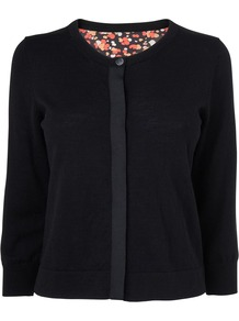 Women's Bubble Print Silk Back Cardi, Black - neckline: round neck; pattern: plain; predominant colour: black; occasions: casual, work; length: standard; style: standard; fibres: wool - 100%; fit: standard fit; sleeve length: 3/4 length; sleeve style: standard; texture group: knits/crochet; pattern type: knitted - fine stitch; pattern size: standard