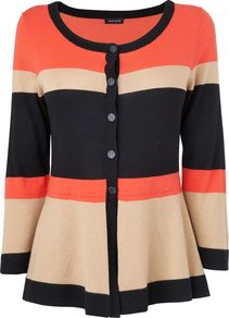 Women's Colour Block Wool Peplum Cardigan, Pink - neckline: round neck; pattern: horizontal stripes; predominant colour: bright orange; occasions: casual, work; length: standard; style: standard; fibres: silk - mix; fit: slim fit; waist detail: peplum detail at waist; sleeve length: 3/4 length; sleeve style: standard; texture group: knits/crochet; pattern type: knitted - fine stitch; pattern size: standard