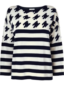 Women's Houndstooth Stripe Sweater, Navy - neckline: round neck; pattern: horizontal stripes; style: standard; predominant colour: navy; occasions: casual, work; length: standard; fibres: cotton - mix; fit: loose; sleeve length: 3/4 length; sleeve style: standard; texture group: knits/crochet; trends: striking stripes; pattern type: knitted - fine stitch; pattern size: big & busy