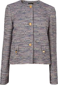 Women's Textured Sb Stand Collar Jacket, Blue - collar: round collar/collarless; style: boxy; pattern: herringbone/tweed; occasions: casual, evening, work; length: standard; fit: straight cut (boxy); fibres: cotton - mix; predominant colour: multicoloured; sleeve length: long sleeve; sleeve style: standard; collar break: high; pattern type: fabric; pattern size: small & light; texture group: woven light midweight