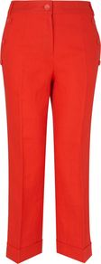 Women&#x27;s Linen Capri Pant With Turn Up, Red - pattern: plain; style: capri; pocket detail: pockets at the sides; waist: mid/regular rise; predominant colour: bright orange; occasions: casual, holiday; length: ankle length; fibres: linen - 100%; jeans &amp; bottoms detail: turn ups; texture group: cotton feel fabrics; fit: straight leg