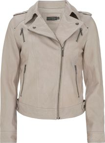 Women's Studded Leather Biker Jacket, Stone - pattern: plain; style: biker; collar: asymmetric biker; fit: slim fit; predominant colour: stone; occasions: casual; length: standard; fibres: leather - 100%; shoulder detail: discreet epaulette; sleeve length: long sleeve; sleeve style: standard; texture group: leather; collar break: medium; pattern type: fabric; pattern size: standard