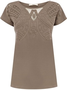 Women's Cutwork Atlas Tee, Khaki - neckline: round neck; pattern: plain; bust detail: added detail/embellishment at bust; length: below the bottom; style: t-shirt; predominant colour: taupe; occasions: casual, work; fibres: cotton - 100%; fit: body skimming; back detail: longer hem at back than at front; sleeve length: short sleeve; sleeve style: standard; texture group: cotton feel fabrics; pattern type: fabric; embellishment: embroidered