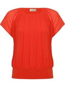 Women&#x27;s Bubble Hem Blouse, Orange - neckline: round neck; pattern: plain; waist detail: drop waist; style: blouson; predominant colour: bright orange; occasions: evening, work; length: standard; fibres: polyester/polyamide - 100%; fit: loose; sleeve length: short sleeve; sleeve style: standard; texture group: sheer fabrics/chiffon/organza etc.; bust detail: tiers/frills/bulky drapes/pleats; pattern type: fabric