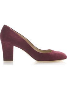 Carla Court, Black - predominant colour: magenta; occasions: evening, work; material: leather; heel height: mid; heel: block; toe: round toe; style: courts; finish: plain; pattern: plain