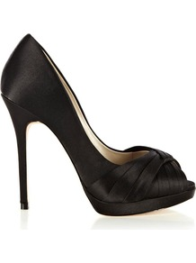 Pleated Satin Peep Toe Platform Shoes, Black - predominant colour: black; occasions: evening, occasion; material: satin; heel: platform; toe: open toe/peeptoe; style: courts; finish: plain; pattern: plain; embellishment: pleated; heel height: very high