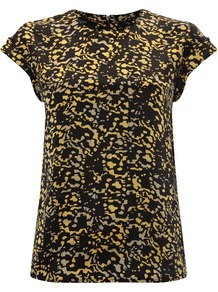 Women&#x27;s Katie Top, Yellow - style: t-shirt; secondary colour: primrose yellow; predominant colour: black; occasions: casual, evening; length: standard; fibres: silk - 100%; fit: body skimming; neckline: crew; sleeve length: short sleeve; sleeve style: standard; texture group: silky - light; pattern type: fabric; pattern size: small &amp; busy; pattern: patterned/print