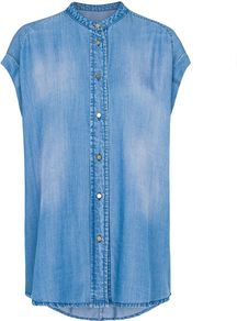Women&#x27;s Oversized Denim Shirt, Denim Dark Wash - neckline: shirt collar/peter pan/zip with opening; sleeve style: capped; pattern: plain; length: below the bottom; style: shirt; predominant colour: denim; occasions: casual; fibres: viscose/rayon - 100%; fit: loose; back detail: longer hem at back than at front; sleeve length: short sleeve; texture group: denim; pattern type: fabric