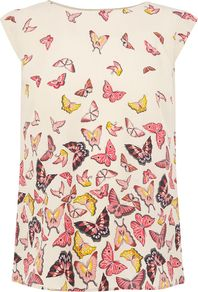 Women&#x27;s Butterfly Border Tshirt, Multi Coloured - sleeve style: capped; style: t-shirt; secondary colour: white; occasions: casual; length: standard; fibres: polyester/polyamide - 100%; fit: body skimming; neckline: crew; predominant colour: multicoloured; sleeve length: short sleeve; pattern type: fabric; pattern size: big &amp; busy; pattern: patterned/print; texture group: jersey - stretchy/drapey