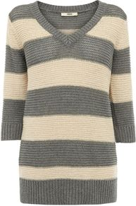 Women's Tape Stripe V Neck Jumper, Grey - neckline: v-neck; pattern: horizontal stripes; length: below the bottom; style: standard; predominant colour: charcoal; occasions: casual, work; fibres: cotton - mix; fit: standard fit; sleeve length: 3/4 length; sleeve style: standard; texture group: knits/crochet; trends: striking stripes; pattern type: knitted - other; pattern size: standard