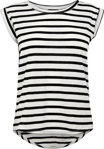 Women&#x27;s Stripe Boyfriend Tee, Black - neckline: round neck; sleeve style: capped; pattern: horizontal stripes; style: t-shirt; predominant colour: white; secondary colour: black; occasions: casual, holiday; length: standard; fibres: polyester/polyamide - mix; fit: loose; back detail: longer hem at back than at front; sleeve length: sleeveless; trends: striking stripes; pattern type: fabric; pattern size: standard; texture group: jersey - stretchy/drapey