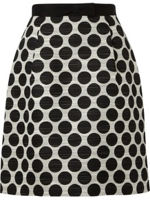 Women's Harriet Skirt, Black Ivory - fit: loose/voluminous; waist: high rise; pattern: polka dot; predominant colour: black; occasions: casual, evening, work; length: just above the knee; style: a-line; fibres: wool - mix; waist detail: narrow waistband; trends: statement prints; pattern type: fabric; pattern size: standard; texture group: other - light to midweight