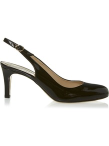 Tina Slingback, Black - predominant colour: black; occasions: evening, work; material: leather; heel height: mid; heel: standard; toe: round toe; style: slingbacks; finish: patent; pattern: plain