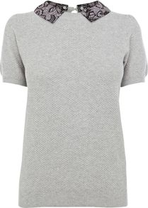 Women&#x27;s Spot Print Collar Top, Grey - pattern: plain; style: t-shirt; predominant colour: light grey; secondary colour: black; occasions: casual, work; length: standard; fibres: cotton - 100%; fit: body skimming; neckline: no opening/shirt collar/peter pan; sleeve length: short sleeve; sleeve style: standard; pattern type: fabric; texture group: jersey - stretchy/drapey