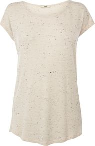 Women&#x27;s Oversized Neppy Tee, Neutral - neckline: round neck; pattern: plain; length: below the bottom; style: t-shirt; predominant colour: stone; occasions: casual, holiday; fibres: viscose/rayon - stretch; fit: loose; back detail: longer hem at back than at front; sleeve length: short sleeve; sleeve style: standard; pattern type: fabric; texture group: jersey - stretchy/drapey