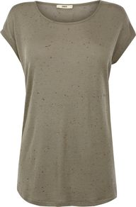 Women's Oversized Neppy Tee, Khaki - neckline: round neck; pattern: plain; length: below the bottom; style: t-shirt; predominant colour: sage; occasions: casual, holiday; fibres: viscose/rayon - stretch; fit: loose; sleeve length: short sleeve; sleeve style: standard; pattern type: fabric; texture group: jersey - stretchy/drapey