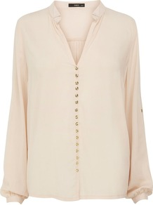 Women&#x27;s Viscose Small Button Shirt, Pink - neckline: shirt collar/peter pan/zip with opening; pattern: plain; length: below the bottom; style: blouse; predominant colour: blush; occasions: casual, evening, work; fibres: viscose/rayon - 100%; fit: loose; sleeve length: long sleeve; sleeve style: standard; texture group: silky - light; pattern type: fabric