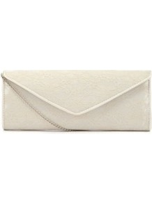 Cream Floral Lace Clutch - predominant colour: ivory; occasions: evening, occasion, holiday; type of pattern: standard; style: clutch; length: hand carry; size: standard; material: lace; pattern: plain; finish: plain