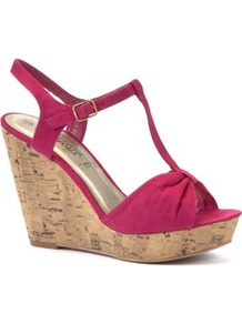 Fuchsia T Bar Cork Wedges - predominant colour: hot pink; occasions: casual, evening, holiday; material: fabric; heel height: high; embellishment: buckles; ankle detail: ankle strap; heel: wedge; toe: open toe/peeptoe; style: strappy; finish: plain; pattern: plain