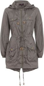 Khaki Tie Waist Lightweight Parka - pattern: plain; fit: loose; style: parka; back detail: hood; hip detail: front pockets at hip; collar: high neck; length: mid thigh; predominant colour: charcoal; occasions: casual; fibres: cotton - 100%; waist detail: belted waist/tie at waist/drawstring; sleeve length: long sleeve; sleeve style: standard; texture group: cotton feel fabrics; collar break: high; pattern type: fabric