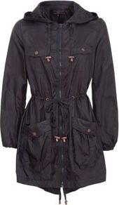 Navy Tie Waist Lightweight Parka - pattern: plain; fit: loose; style: parka; back detail: hood; hip detail: front pockets at hip; collar: high neck; length: mid thigh; predominant colour: navy; occasions: casual; fibres: cotton - 100%; waist detail: belted waist/tie at waist/drawstring; sleeve length: long sleeve; sleeve style: standard; collar break: high; pattern type: fabric; texture group: other - light to midweight