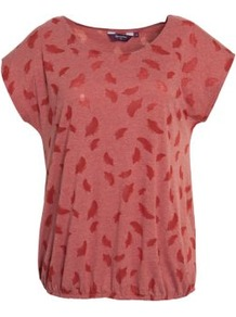 Inspire Orange Feather Print T Shirt - neckline: round neck; sleeve style: capped; style: blouson; predominant colour: terracotta; occasions: casual; length: standard; fibres: cotton - 100%; fit: loose; sleeve length: short sleeve; pattern type: fabric; pattern size: standard; pattern: patterned/print; texture group: jersey - stretchy/drapey