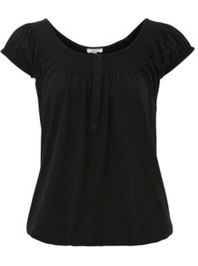 Black Gypsy Top - neckline: round neck; sleeve style: capped; pattern: plain; bust detail: buttons at bust (in middle at breastbone)/zip detail at bust; predominant colour: black; occasions: casual; length: standard; fibres: polyester/polyamide - mix; fit: loose; style: gypsy/peasant; sleeve length: short sleeve; pattern type: fabric; texture group: jersey - stretchy/drapey
