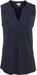 Navy Button Pocket Military Sleeveless Shirt - neckline: v-neck; pattern: plain; sleeve style: sleeveless; length: below the bottom; style: t-shirt; bust detail: pocket detail at bust; predominant colour: navy; occasions: casual, holiday; fibres: polyester/polyamide - 100%; fit: body skimming; sleeve length: sleeveless; pattern type: fabric; texture group: jersey - stretchy/drapey