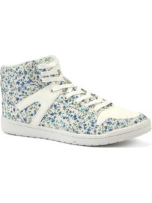 White And Blue Floral Retro Hi Tops - predominant colour: white; secondary colour: royal blue; occasions: casual, holiday; material: fabric; heel height: flat; embellishment: studs; ankle detail: ankle tie; toe: round toe; style: trainers; finish: plain; pattern: florals