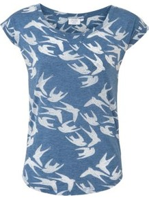 Petite Blue And White Swallow Print T Shirt - neckline: round neck; style: t-shirt; secondary colour: ivory; predominant colour: denim; occasions: casual; length: standard; fibres: cotton - 100%; fit: body skimming; sleeve length: short sleeve; sleeve style: standard; pattern type: fabric; pattern size: big &amp; busy; pattern: patterned/print; texture group: jersey - stretchy/drapey