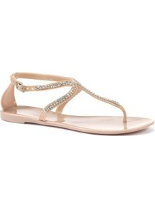 Nude Diamante Embellished Jelly Sandals - predominant colour: nude; occasions: casual, holiday; material: plastic/rubber; heel height: flat; embellishment: crystals; ankle detail: ankle strap; heel: standard; toe: toe thongs; style: flip flops / toe post; finish: plain; pattern: plain