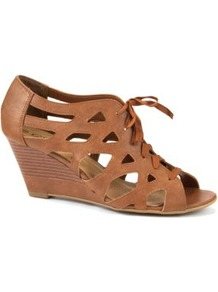 Tan Lace Up Cage Wedges - predominant colour: tan; occasions: casual, evening; material: fabric; heel height: high; heel: wedge; toe: open toe/peeptoe; boot length: shoe boot; style: standard; finish: plain; pattern: plain