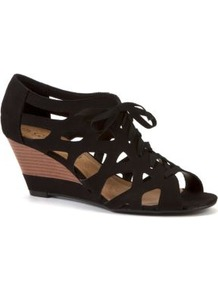 Black Lace Up Wedge Sandals - predominant colour: black; occasions: casual, evening, holiday; material: fabric; heel height: mid; heel: wedge; toe: open toe/peeptoe; style: strappy; finish: plain; pattern: plain